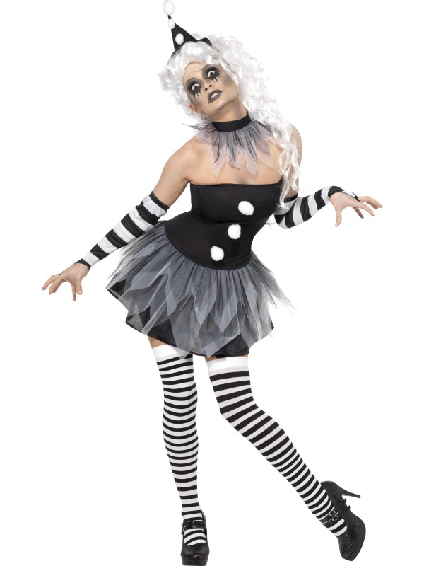 Chic-Sexy-Clown-Pierott-Circus-Halloween-Womens-Fancy-Dress-Size-8-18-NEW